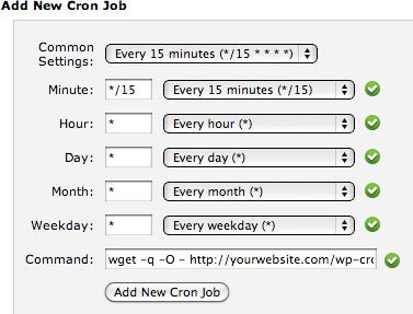 Setting a Cron job to every 15 minutes